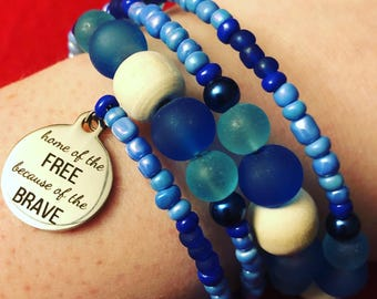 Home Of The Free Because Of The Brave Bracelet
