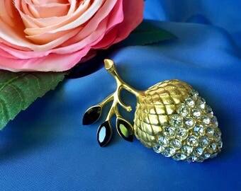 Vintage Rhinestone and Gold Tone Acorn Brooch, Vintage Acorn Brooch, Rhinestone Acorn Pin