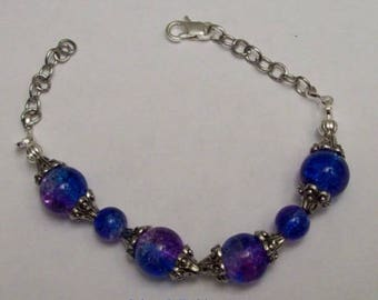 Beautiful Colored Blue and Purple Glass Beaded Bracelet.