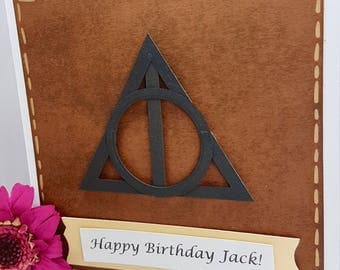 Personalised Harry Potter Deathly Hallows Always Elder Wand Resurrection Stone Invisibility Cloak Card Handmade Kids Adults BD72