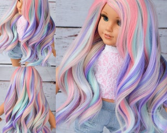 "Custom Doll Wig for 18"" American Girl Doll Heat Safe Tangle Resistant - fits 10-11.5"" head size of all 18"" dolls Gotz Our Generation Rainbow"