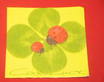 "napkin ""Shamrocks and ladybugs"" animals theme"