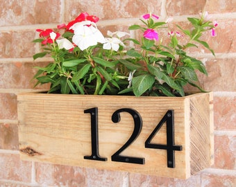 Address Sign Planter horizontal - reclaimed wood, home address display, planter box, business, house sign, house number, address plaque