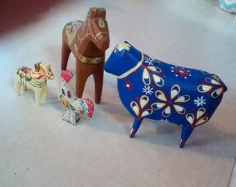 Swedish horses, sheep, rooster - antique