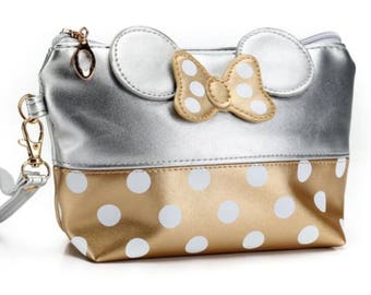 Minnie Inspired Cosmetic Bag, Gold & Silver Polka Dot Makeup Bag, Small Toiletry Case, Disney theme bag, Minnie Mouse, Travel Case, Pencil C