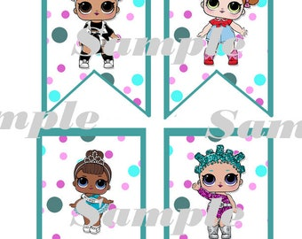 LOL Surprise Banner - Happy Birthday Banner!  13 Different doll images !   DIY
