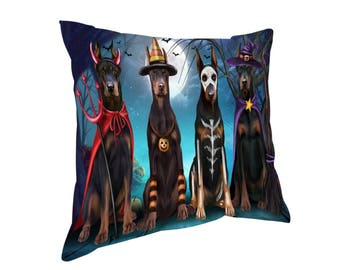 Happy Halloween Trick or Treat Doberman Dog Throw Pillow