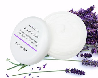 Body Butter with Shea & Organic Coconut Oil 4 oz  Lavender EO
