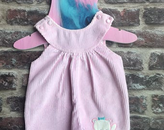 Vintage baby dungarees/ vintage baby cords/ baby pink dungarees/ vintage baby Debenhams/ girl baby shower/ vintae baby outfit/ cute baby set