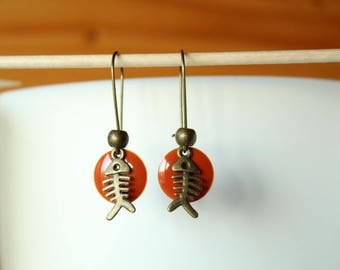 bronze fish and orange sequin earring