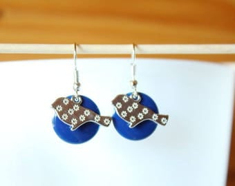 earring with blue sequin silver bird and night