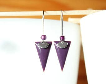 sequin purple triangle purple and silver charm earrings