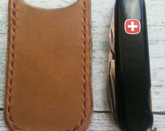 Leather Sleeve for knive, Leather knive sleeve, Leather knive case, Leather knive pocket, Front Pocket knives holder, Rustic Tan Leather