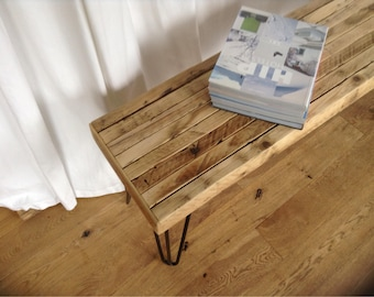 Reclaimed wooden bench.