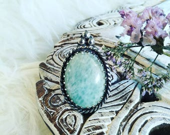 Amazonite and stering silver ring