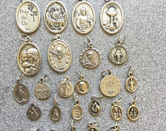 Add a Saint Medal or tau cross with ONLY your eGoldengems' Jewelry, Baptism Gift, Sterling Silver Francis Tau Cross, Patron Saint Medal