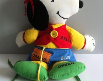 Vintage Snoopy Belle soft toy, Educational rag doll, Snoopys sister, Woodstock.