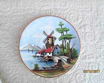 Vintage French Limoges Plate, decorative plates, country scene ceramics, limoges items, signed plates