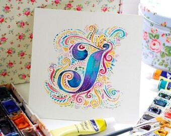 Custom Initial Watercolour Art, Bespoke Letter Art, Typographic Initial Monogram, Colourful Custom Letter Art, Initial Watercolour Art