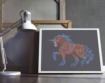 Unicorn Art, Colourful Unicorn Art, Floral Unicorn Art Print, Unicorn Wall Art, Unicorn Totem Art Print, Unicorn Spirit Guide