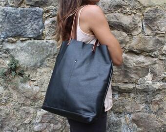 Black Tote Soft Spanish Leather