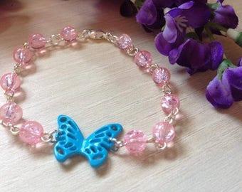 Blue and pink butterfly bracelet light