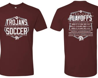 Unisex Tees  - Garden City - High School - Soccer - Trojans - GCHS - Long Island Champions - Design 3