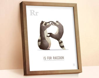 Raccoon Print | Nursery Animal Print | Alphabet letters | Alphabet Print | ABC letters | Animal Prints for Nursery | Nursery Wall Art