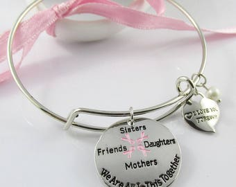 We Are All in this Together Pink Awareness Ribbon Charm Bracelet Bangle