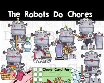 Robot Chores PNG artwork for planner stickers