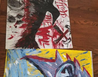 Grateful Dead painting and Pink Floyd painting