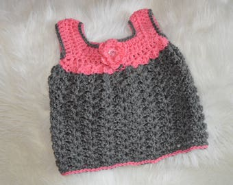 Crochet Pink/Grey Dress/Tunic 6-12 months