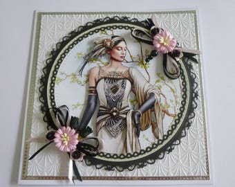 Beautiful Art Deco Lady Birthday Card
