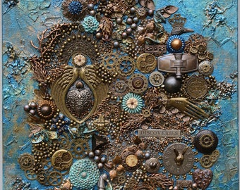 Charmant Steampunk Canvas   Original Steampunk Art   3D Wall Art   Found Objects Art    3D