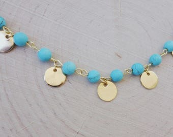 Gold Dot Turquoise Rosary Choker // Gold Layering Necklace with Turquoise Beads