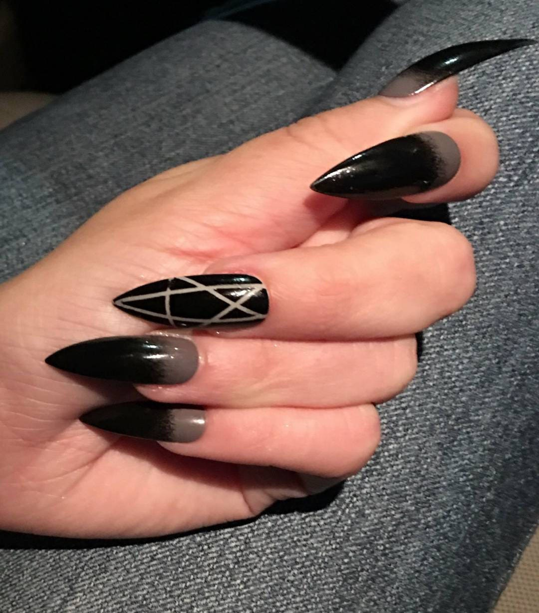 Gothic Gray & Black Pentagram Nails Long or Short Stiletto