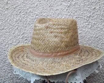 Unisex western style straw hat wide brim