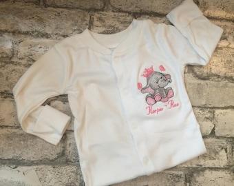 Personalised embroidered sleepsuit