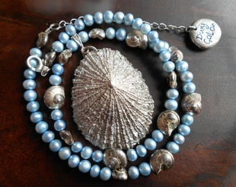 Blue Pearl & Plated Shell Necklace, Dwy Galon Handmade Necklace, Welsh Jewellery