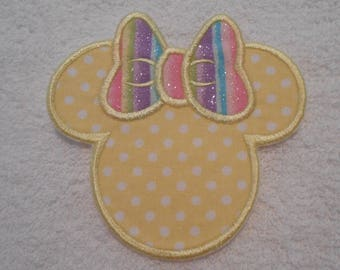 Yellow Polka Dot Minnie Mouse Iron on Applique Patch
