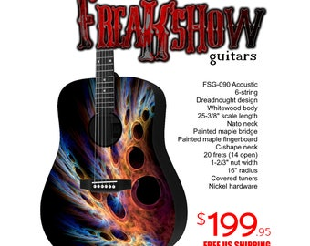 Graphic Acoustic Guitar LIFEFORM Design by FreakshowGuitars - FREE SHIPPING