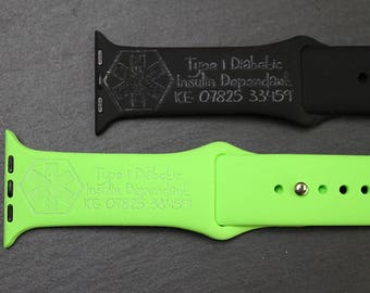 Medical ID laser etched Apple Watch Silicone Straps - Various Colours