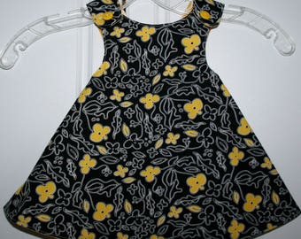 6 months, Black and Yellow Flower Reversible Sundress with Yellow print.