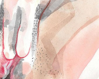 MEANINGFUL Original artwork, watercolor and drawing, coitus # 3, 14.9 x 21cm, Canson sketch paper 90g