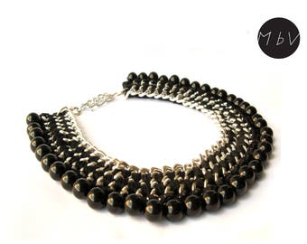 Fashion Jewelry Modern Black Chrochet Bib Necklace With Metal Chain, Cotton and Beads
