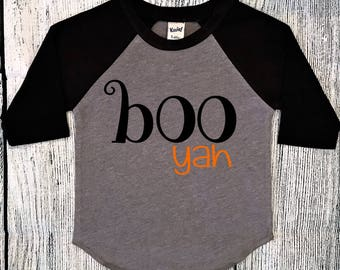Boys Halloween Shirt, Halloween tshirt, Toddler Halloween shirt, Fall shirt, raglan tee, Boo yah