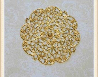 2 pcs raw brass filigree finding vintage embellishment ornate ornament #2987