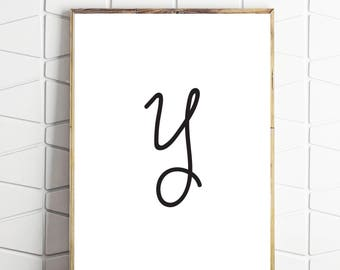 y art printable, y letter decor, y poster art, y wallart