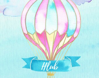 Hot air balloon digital print, custom nursery print, girl hot air balloon print, custom hot air balloon, nursery decor, pink hot air balloon