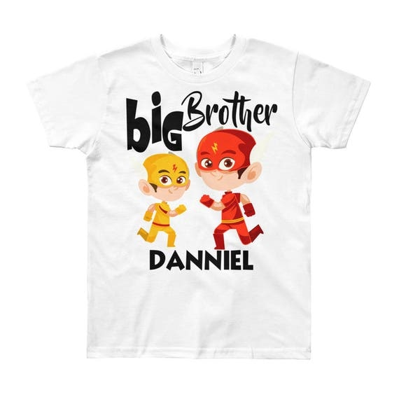 Personalized Big Brother Flash Short Sleeve T-Shirt | Personalized Big Brother Shirt | Custom Big Brother Shirt, Big Brother Tee | Superhero